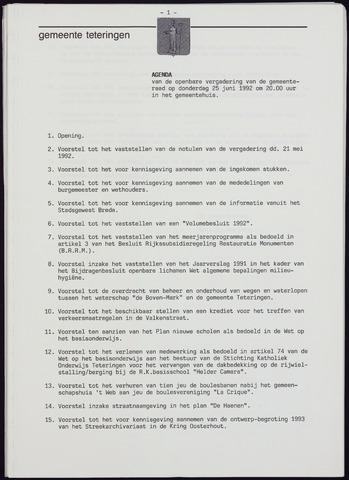 Teteringen - Notulen en bijlagen van de gemeenteraad 1992-06-25