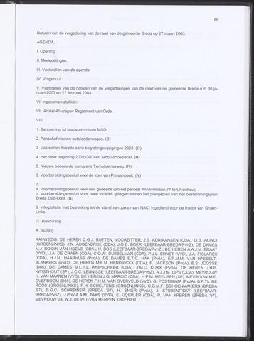 Breda - Notulen van de gemeenteraad 2003-03-27