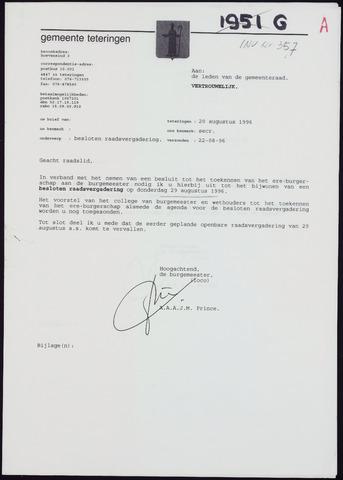 Teteringen - Notulen en bijlagen van de gemeenteraad 1996-08-29
