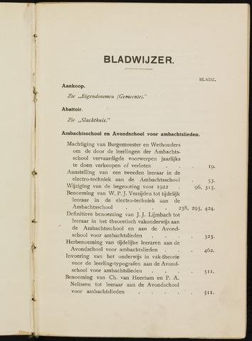 Breda - Indexen op de notulen van de gemeenteraad 1922