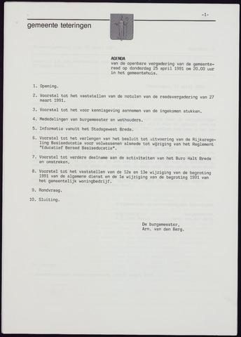Teteringen - Notulen en bijlagen van de gemeenteraad 1991-04-25