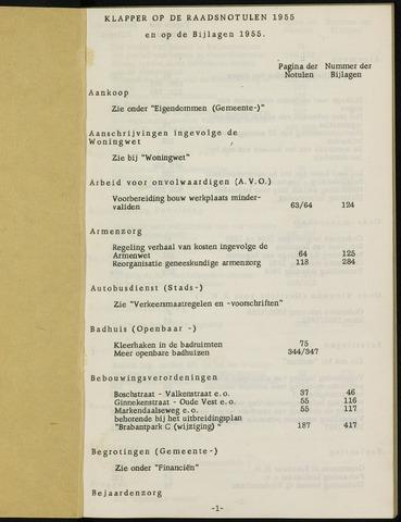 Breda - Indexen op de notulen van de gemeenteraad 1955-01-01
