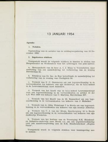 Breda - Notulen van de gemeenteraad 1954