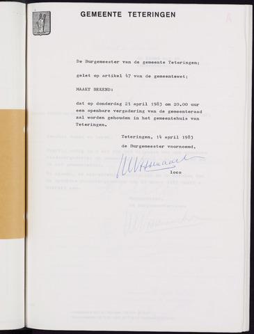Teteringen - Notulen en bijlagen van de gemeenteraad 1983-04-21