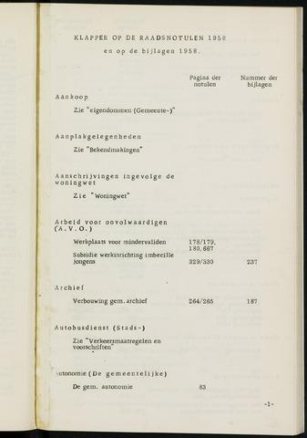 Breda - Indexen op de notulen van de gemeenteraad 1958-01-01