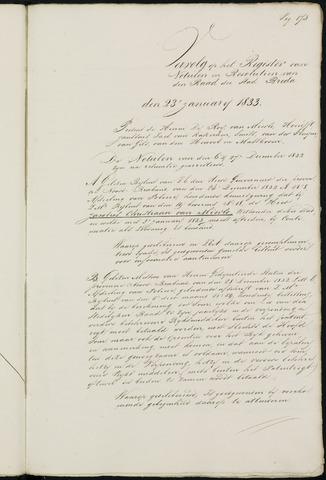 Breda - Notulen van de gemeenteraad 1833