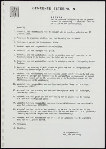 Teteringen - Notulen en bijlagen van de gemeenteraad 1990-02-22