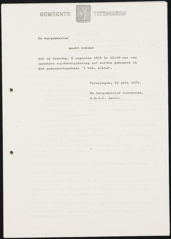 Teteringen - Notulen en bijlagen van de gemeenteraad 1974-08-06