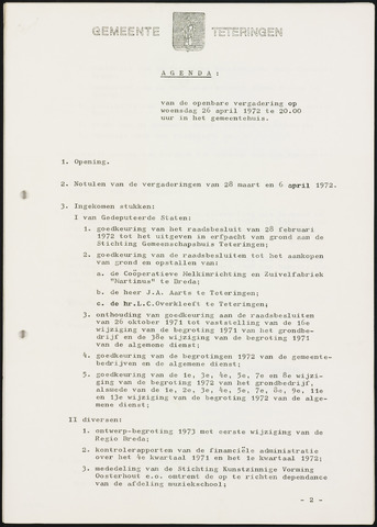 Teteringen - Notulen en bijlagen van de gemeenteraad 1972-04-26