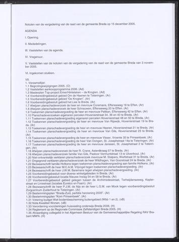 Breda - Notulen van de gemeenteraad 2005-12-15