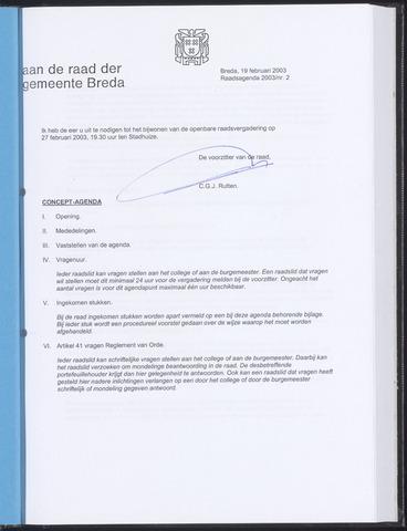 Breda - Bijlagen bij de notulen van de gemeenteraad 2003-02-19