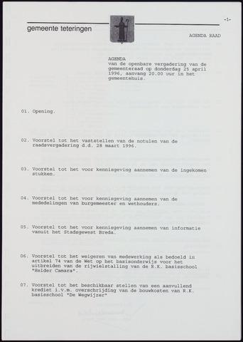 Teteringen - Notulen en bijlagen van de gemeenteraad 1996-04-25