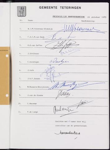 Teteringen - Notulen en bijlagen van de gemeenteraad 1985-10-24