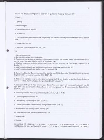 Breda - Notulen van de gemeenteraad 2004-03-25