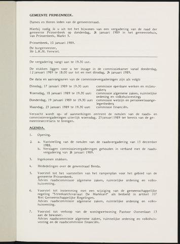Prinsenbeek - Notulen van de gemeenteraad 1989