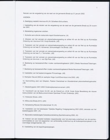 Breda - Notulen van de gemeenteraad 2002-01-01