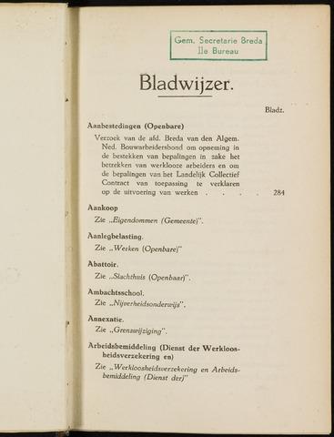 Breda - Indexen op de notulen van de gemeenteraad 1927