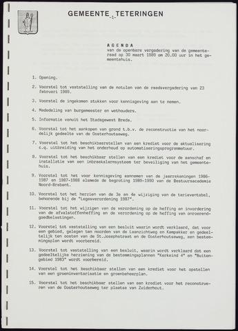 Teteringen - Notulen en bijlagen van de gemeenteraad 1989-03-30