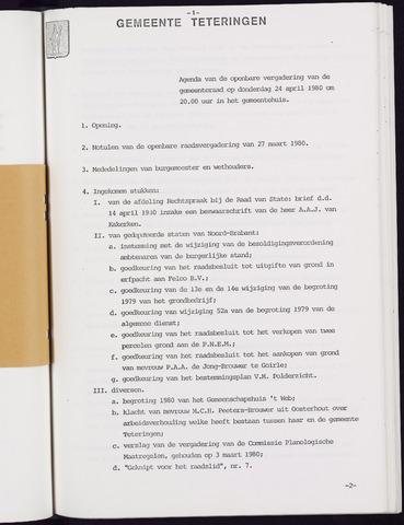 Teteringen - Notulen en bijlagen van de gemeenteraad 1980-04-24