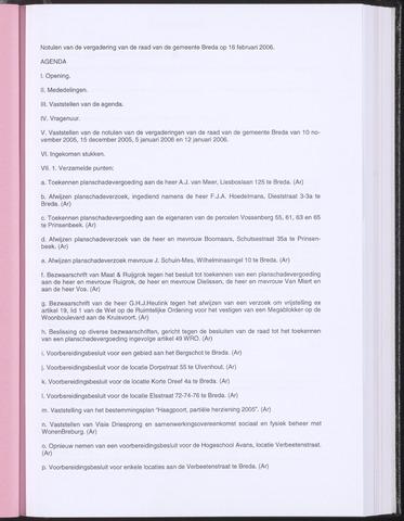Breda - Notulen van de gemeenteraad 2006-02-16