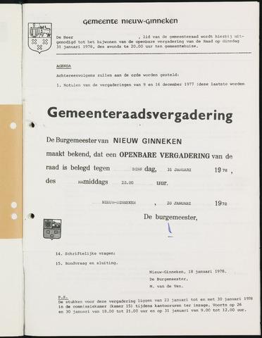 Nieuw-Ginneken - Notulen en bijlagen van de gemeenteraad 1978