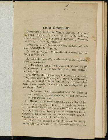 Breda - Notulen van de gemeenteraad 1886-01-01