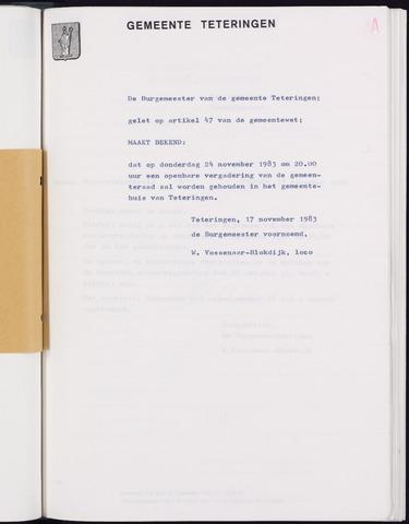 Teteringen - Notulen en bijlagen van de gemeenteraad 1983-11-24
