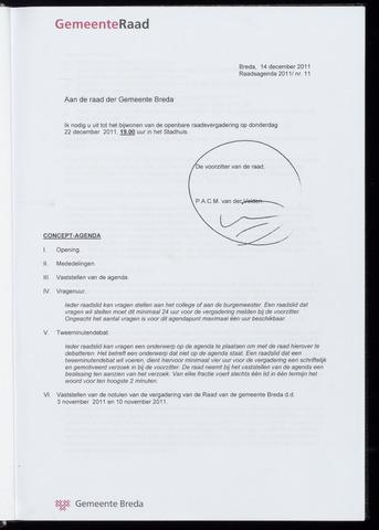 Breda - Bijlagen bij de notulen van de gemeenteraad 2011-12-22
