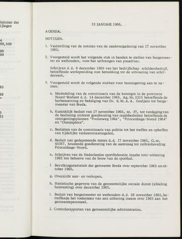 Breda - Notulen van de gemeenteraad 1966-01-01