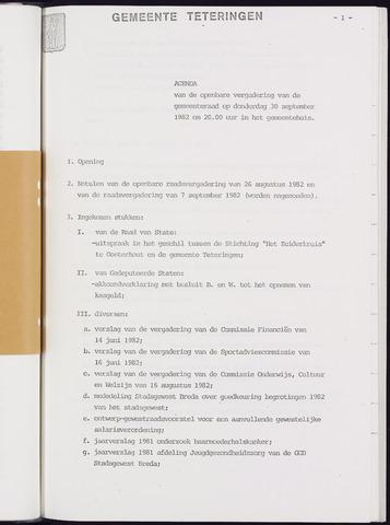 Teteringen - Notulen en bijlagen van de gemeenteraad 1982-09-30