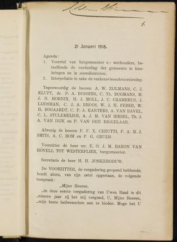 Breda - Notulen van de gemeenteraad 1918-01-01