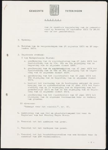 Teteringen - Notulen en bijlagen van de gemeenteraad 1971-09-29