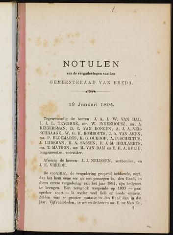 Breda - Notulen van de gemeenteraad 1894-01-01