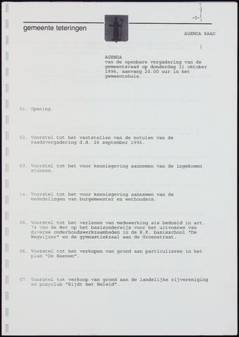 Teteringen - Notulen en bijlagen van de gemeenteraad 1996-10-31