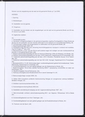 Breda - Notulen van de gemeenteraad 2005-07-07