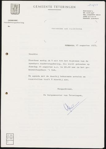 Teteringen - Notulen en bijlagen van de gemeenteraad 1975-08-19