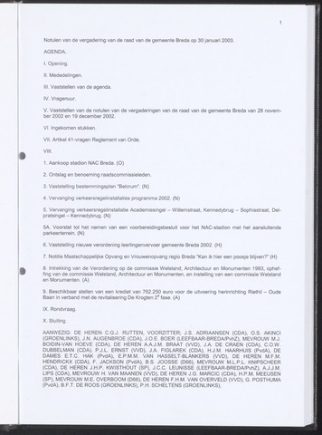 Breda - Notulen van de gemeenteraad 2003-01-30