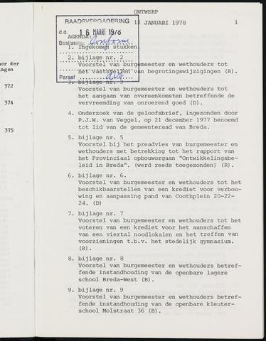 Breda - Notulen van de gemeenteraad 1978-01-01