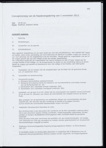 Breda - Notulen van de gemeenteraad 2012-11-01