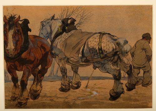 Winterlandschap met paarden