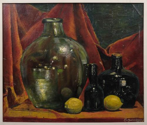 Fruitstilleven met flessen en citroenen