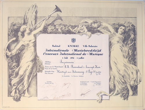 Diploma R.K. Roosendaals Gemengd Koor