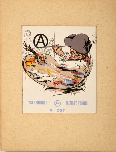 Zelfportret briefkaartaffiche van Alfred Ost