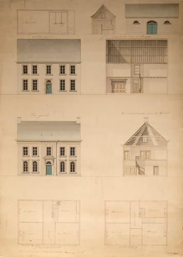 Architectuurtekening van de gevel van een woonhuis