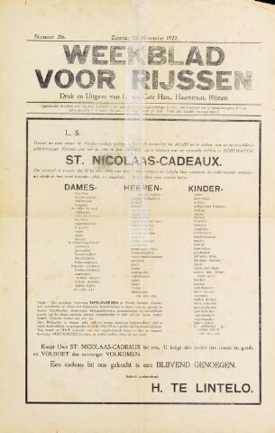 Weekblad voor Rijssen 1922-11-25