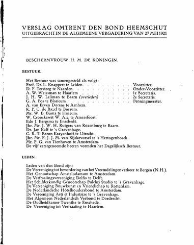 Jaarverslag 1912-1923, 1990-2014 1921-01-01