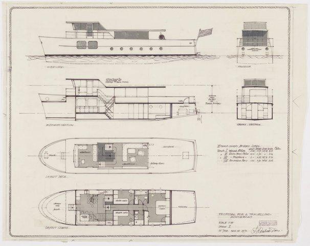 Twee Tekeningen Van Een Travelling Houseboat Voor Dhr Rose Uit New