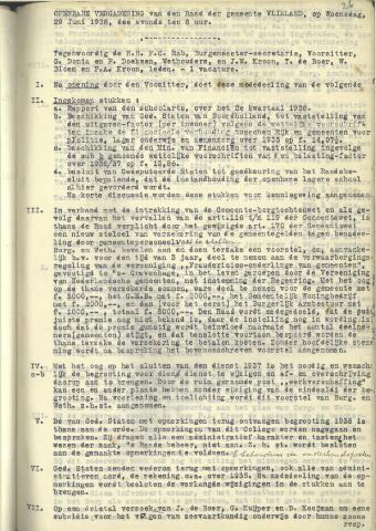 Raadsnotulen 1938