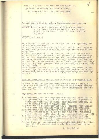 Raadsnotulen 1958