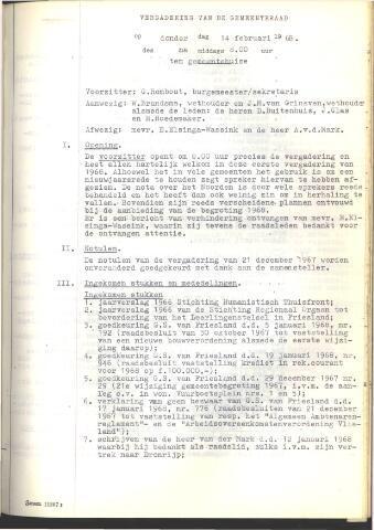 Raadsnotulen 1968